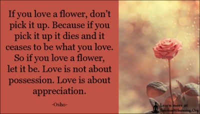 If you love a flower, don't pick it up. Because if you pick it up it dies and it ceases to be what you love. So if you love a flower, let it be. Love is not about possession. Love is about appreciation.