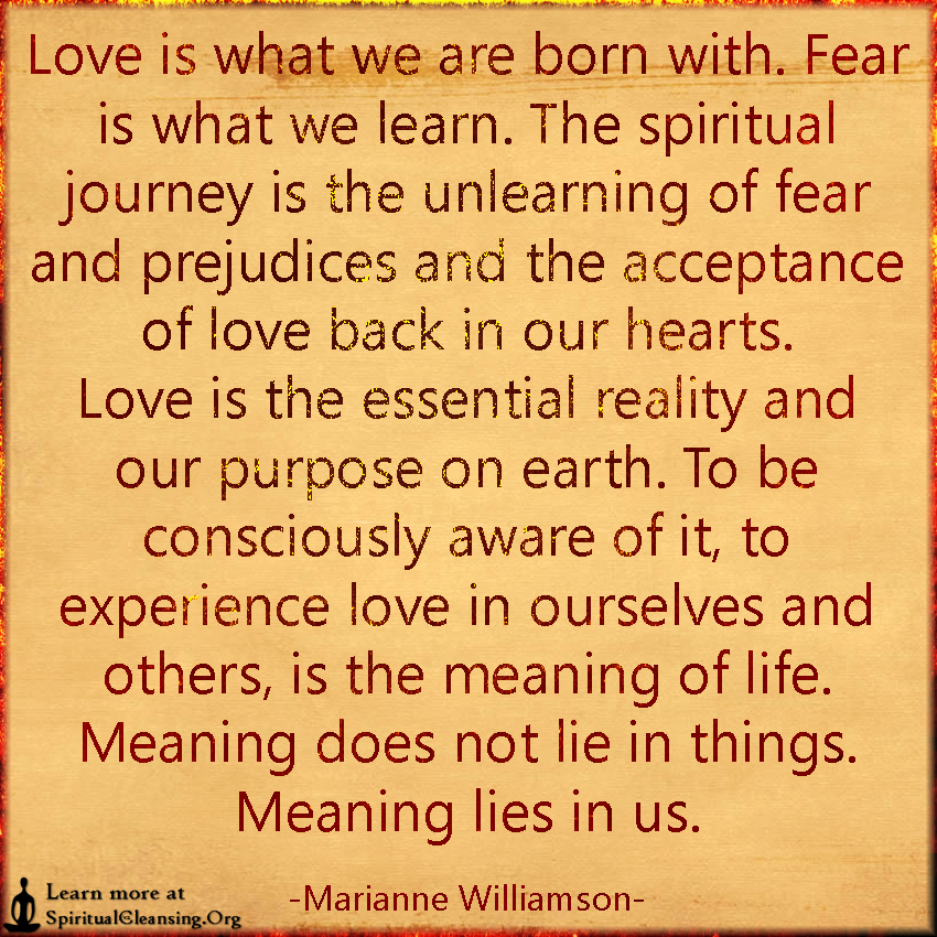 Love is what we are born with. Fear is what we learn. The spiritual journey is the unlearning of fear and prejudices and the acceptance