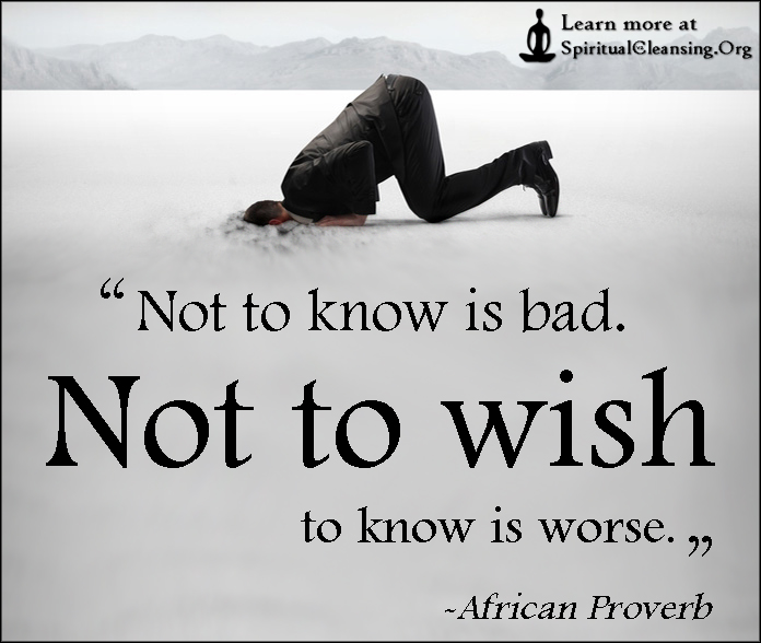 Not to know is bad. Not to wish to know is worse.