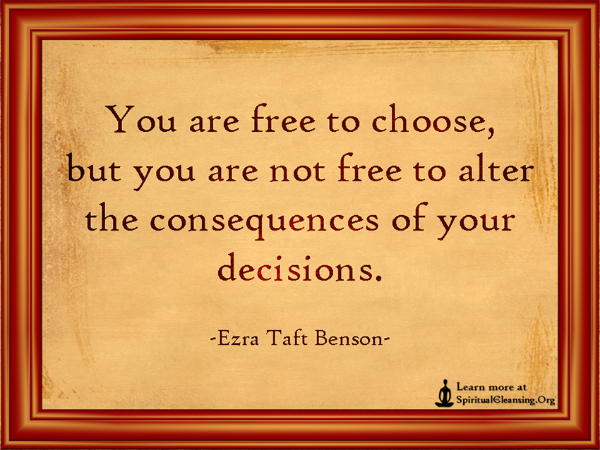 You are free to choose, but you are not free to alter the consequences of your decisions.