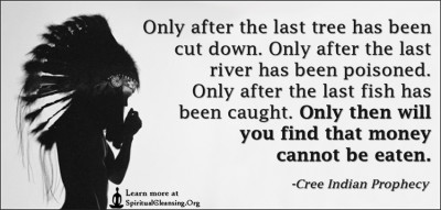 Only after the last tree has been cut down. Only after the last river has been poisoned. Only after the last fish has been caught. Only then will you find that money cannot be eaten.