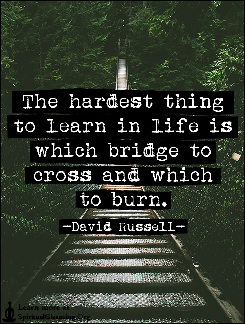 The hardest thing to learn in life is which bridge to cross and which to burn.