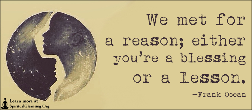 We met for a reason; either you're a blessing or a lesson.