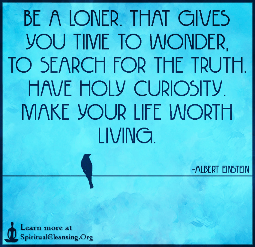 Be a loner. That gives you time to wonder, to search for the truth. Have holy curiosity. Make your life worth living.
