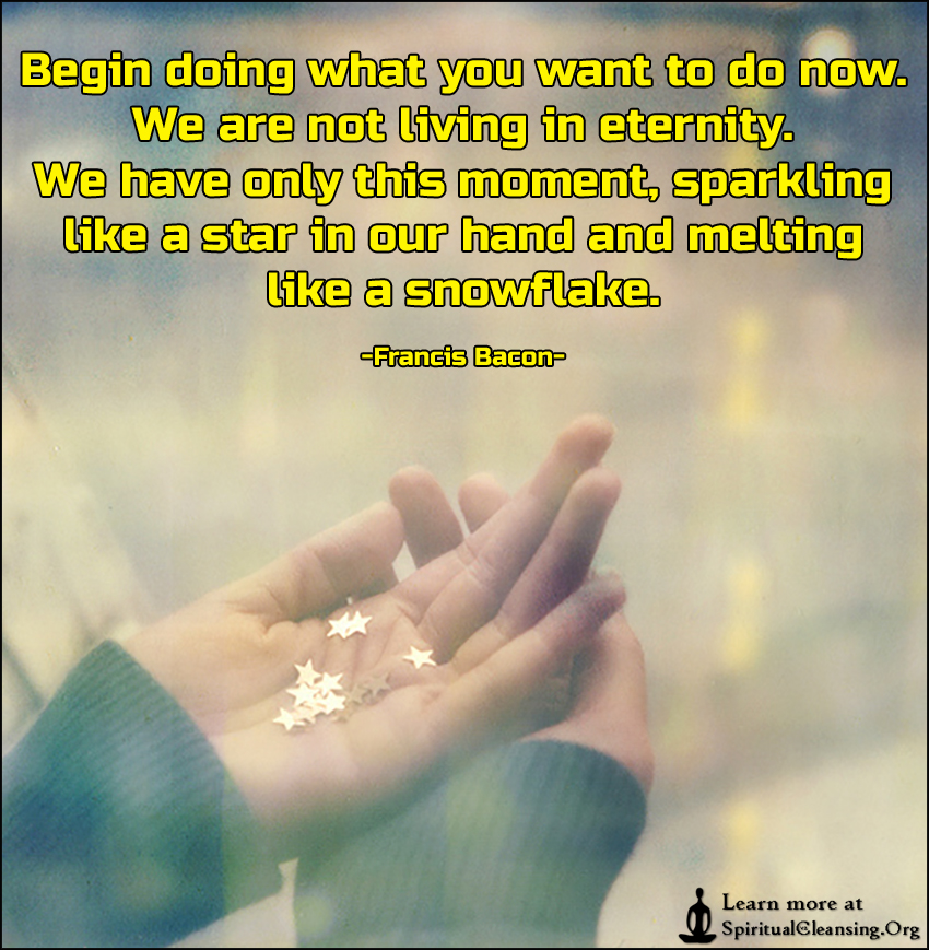 Begin doing what you want to do now. We are not living in eternity. We have only this moment, sparkling like a star in our hand and melting like a snowflake.