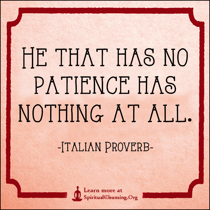 He that has no patience has nothing at all.