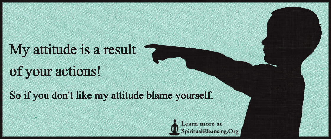 My attitude is a result of your actions! So if you don't like my attitude blame yourself.