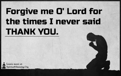 Forgive me O' Lord for the times I never said THANK YOU.