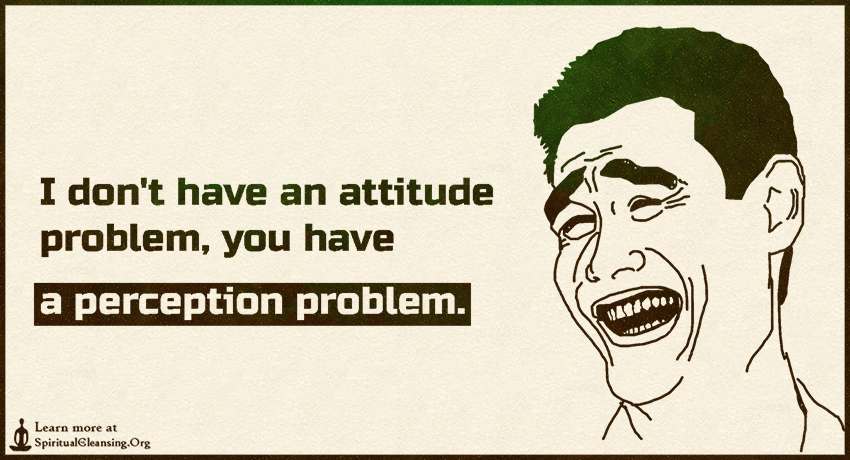 I don't have an attitude problem, you have a perception problem.