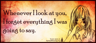 Whenever I look at you, I forget everything I was going to say.