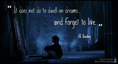 It does not do to dwell on dreams and forget to live.