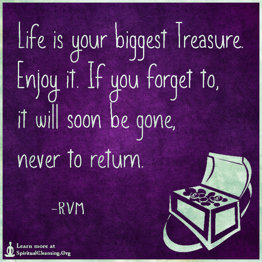 Life is your biggest Treasure. Enjoy it. If you forget to, it will soon be gone, never to return.