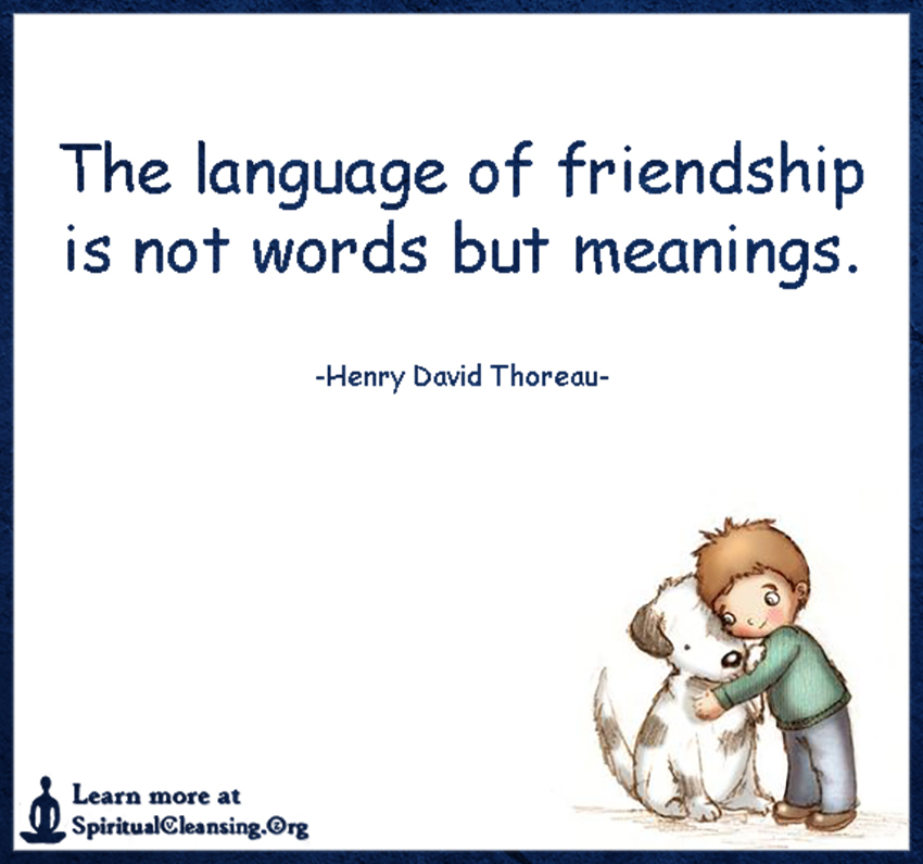 The language of friendship is not words but meanings.