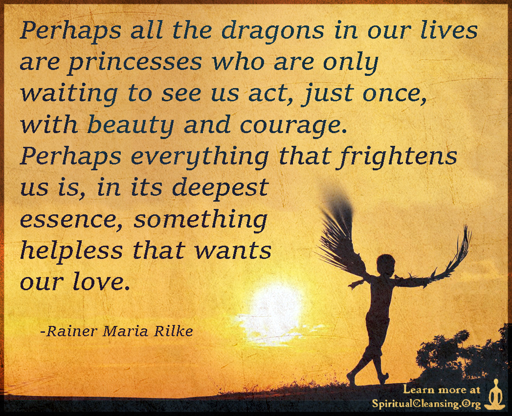 Perhaps all the dragons in our lives are princesses who are only waiting to see us act, just once, with beauty and courage
