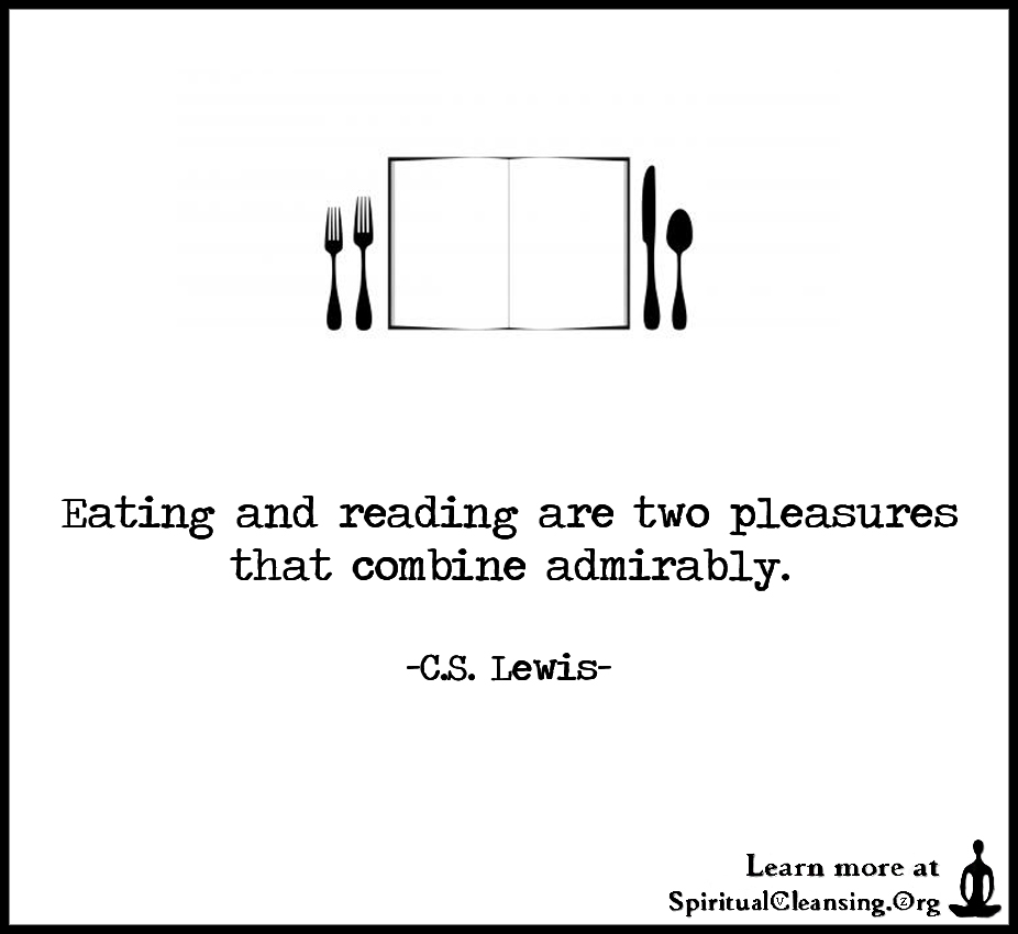 Eating and reading are two pleasures that combine admirably.