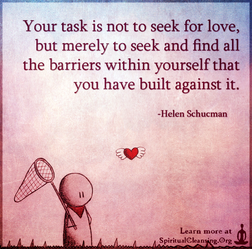Your task is not to seek for love, but merely to seek and find