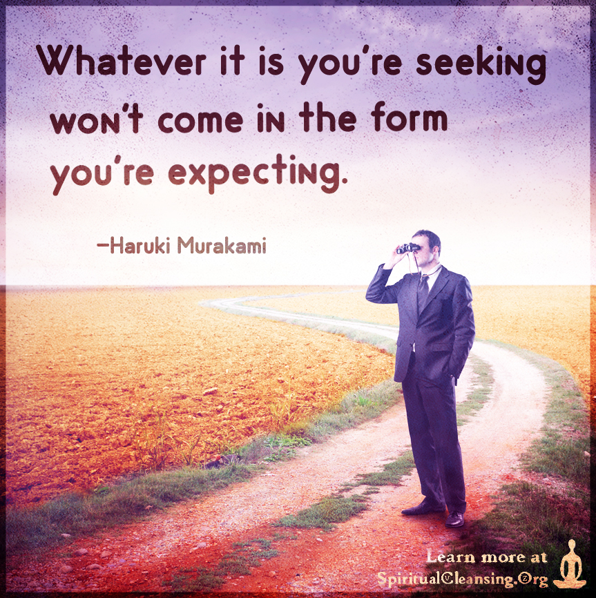 Whatever it is you're seeking won't come in the form you're expecting.