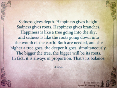 Sadness gives depth. Happiness gives height. Sadness gives roots.