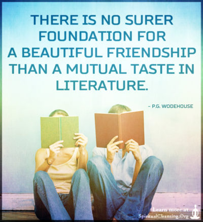 There is no surer foundation for a beautiful friendship than a mutual taste in literature.