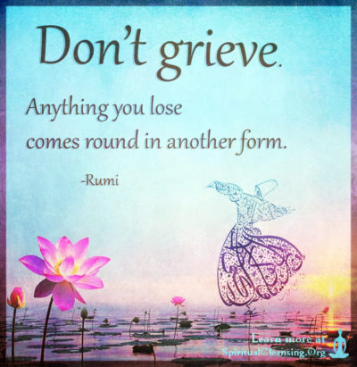 Don't grieve. Anything you lose comes round in another form.