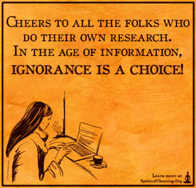 Cheers to all the folks who do their own research. In the age of information