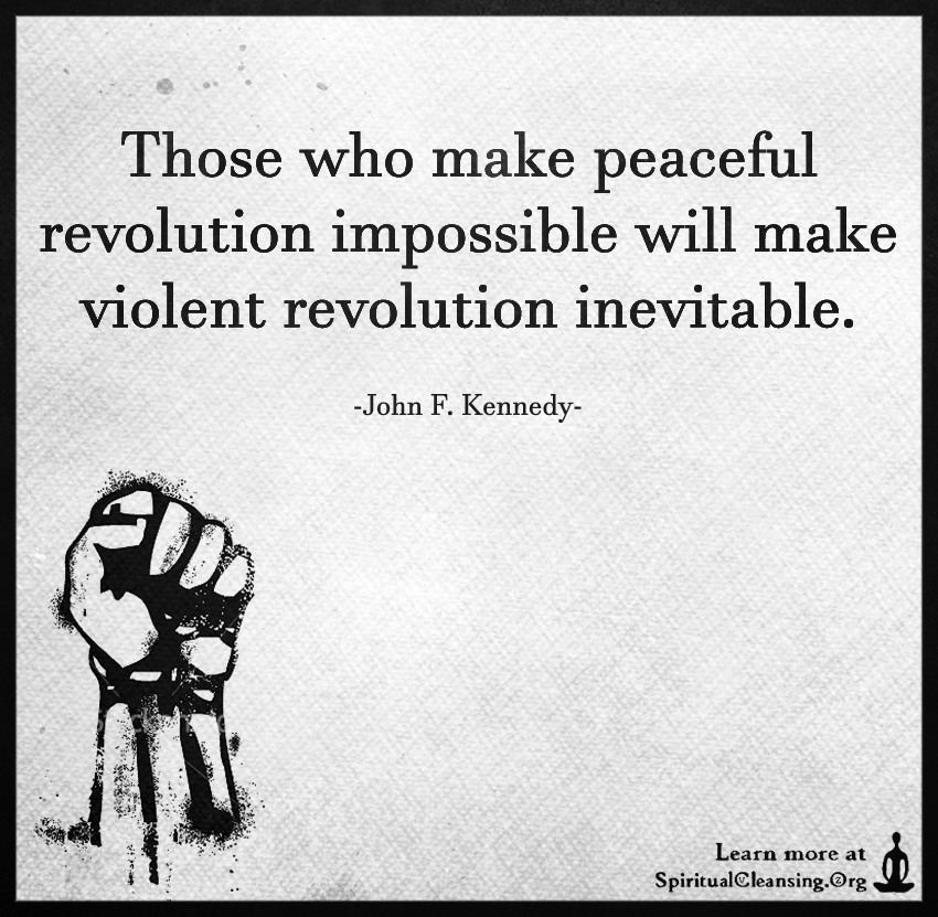 Those who make peaceful revolution impossible will make violent revolution inevitable.