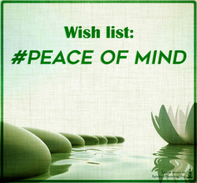 Wish list - peace of mind.